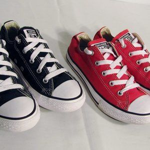 (2 Pair) CONVERSE ALL STAR Youth US 2 Black & Red